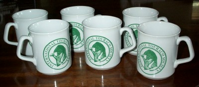 Six earthenware mugs